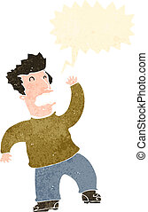karikatúra, ember, retro, tánc