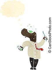 karikatúra, ember, szájvíz, toroköblítő
