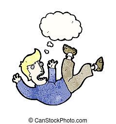 karikatúra, esés, ember