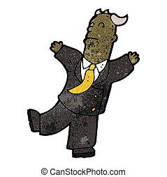 karikatúra, főnök, birtoklás, szívroham