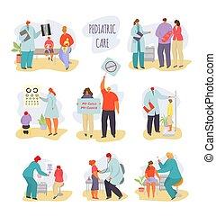 karikatúra, fehér, kölyök, orvosi, gyermek, orvos, ábra, gyerekek, vektor, vizsga, beteg, elszigetelt, betűk, anya, gyermekorvos