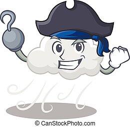 karikatúra, felhős, kalap, kalóz, begörbít, tervezés, szeles...