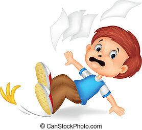 karikatúra, fiú, bukás, lefelé