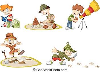 karikatúra, fiú, felfedező