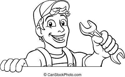 karikatúra, ficam, csavarkulcs, ezermester, vízvezeték szerelő, szerelő