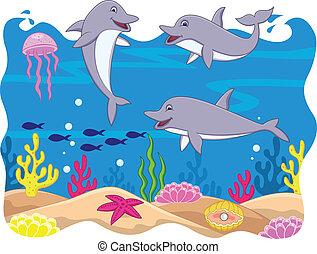 karikatúra, furcsa, delfin