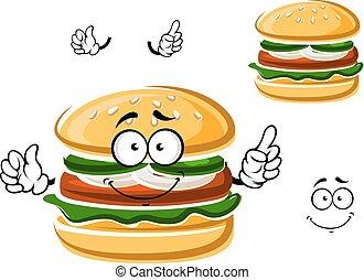 karikatúra, furcsa, hamburger, noha, növényi