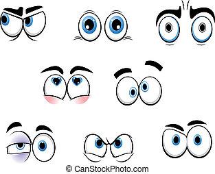 karikatúra, furcsa, szemek