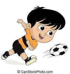 karikatúra, futball, kids.