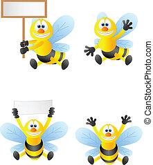 karikatúra, gyűjtés, méh