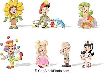 karikatúra, gyerekek, csoport