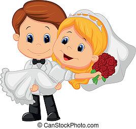 karikatúra, gyerekek, játék, menyasszony, és, groo