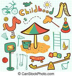 karikatúra, gyerekek, játszótér, ikon