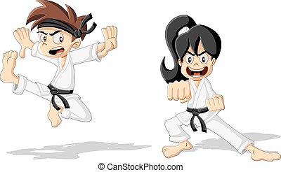 karikatúra, gyerekek, karate