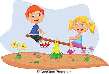 karikatúra, gyerekek, lovaglás, képben látható, mérleghinta