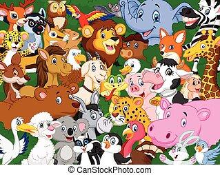 karikatúra, háttér, állat