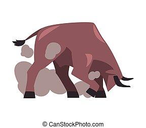 karikatúra, hagyományos, spanyol, előadás, corrida, bika, dühös, mód, ábra, vektor, küzdelem
