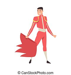 karikatúra, hullámzás, öltözött, hagyományos, torreádor, betű, piros, jelmez, köpeny, spanyol, corrida, előadás, mód, ábra, bikaviador, vektor