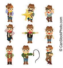 karikatúra, icon cowboy