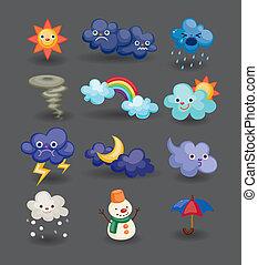 karikatúra, időjárás, ikon