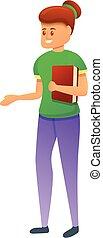 karikatúra, ikon, leány, könyv, diák, mód