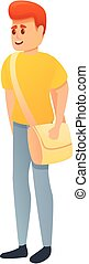 karikatúra, ikon, táska, diák, fiú, mód