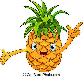 karikatúra, jókedvű, ananász, charact