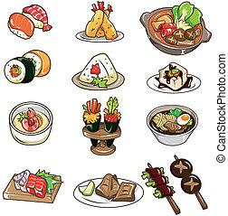 karikatúra, japán étel, ikon