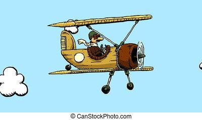 karikatúra, kétfedelű repülőgép