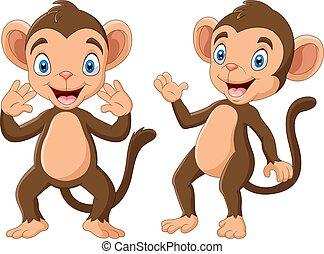 karikatúra, kéz, boldog, hullámzás, majom