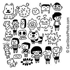 karikatúra, kéz, rajzol, csinos