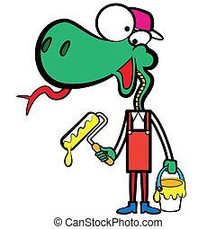 karikatúra, kígyó, szobafestő, noha, egy, ecset