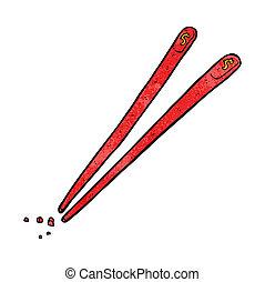 karikatúra, kínai evőpálcikák