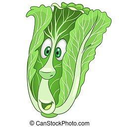 karikatúra, kínai kel, növényi