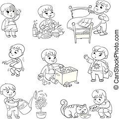 karikatúra, kölyök, napi szokásos, elfoglaltságok, állhatatos