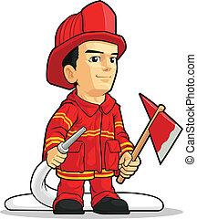 karikatúra, közül, tűzoltó, fiú
