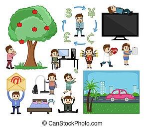 karikatúra, különféle, grafikus, ábra