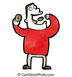 karikatúra, kapzsi, ember, étkezési, gyorsétel