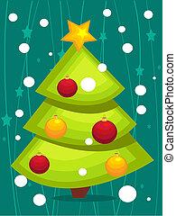 karikatúra, karácsonyfa, kártya