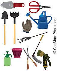 karikatúra, kertészkedés, ikon