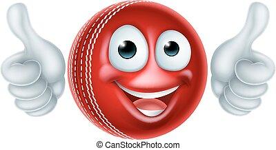 karikatúra, krikett labda, betű