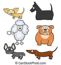 karikatúra, kutyák