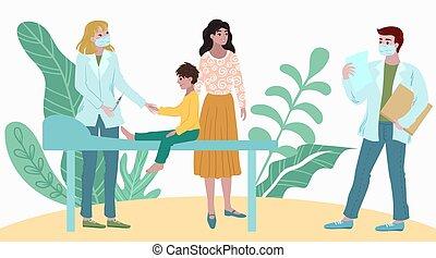 karikatúra, látogat kórház, türelmes, orvosi, kivizsgálás, anya, orvosok, vektor, találkozó, illustration., gyermek