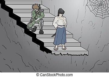 karikatúra, lépcsőfok