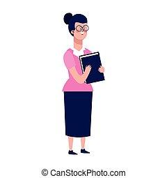 karikatúra, leány, színes, könyv, tervezés, ikon