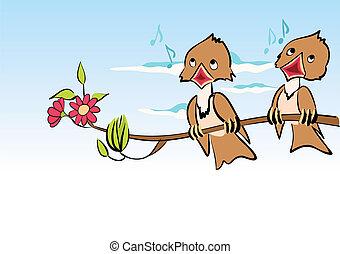 karikatúra, madarak