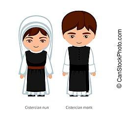 karikatúra, nun., ciszterci, woman., szerzetes, ember, character., catholics., vallásos