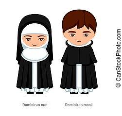 karikatúra, nun., dominikai, woman., szerzetes, ember, character., catholics., vallásos