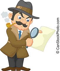 karikatúra, nyomozó, ember
