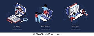 karikatúra, online, háttér, ellenző, vizsgálat, bevétel, sötét, tanulás, isometric, ábra, emberek, fogalom, zenemű, oktatás, vektor, writings., remoted, laptops, három, 3, számítógép